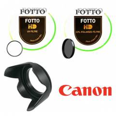 Canon 18-55mm Uv + Polarize Filtre + Parasoley