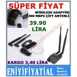 Wireless adapt�r 1 km menzil �ift anten 300 Mbps