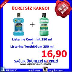 Listerine Coolmint + Teeth Gum 250 ml 2'li Paket