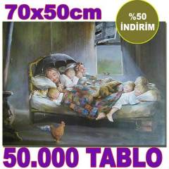 70x50c CANVAS TABLO MUTLULU�UN RESM� AB�D�N D�NO