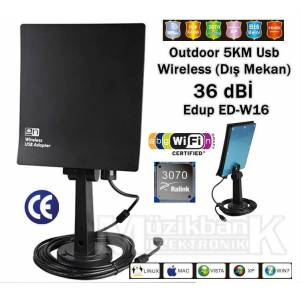 W-16 Outdoor (D�� Mekan) 5KM Usb Wireless 36dB�