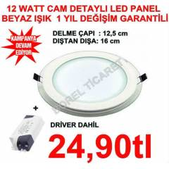 LED PANEL 12 WATT -CAM DETAYLI -LED SPOT BEYAZ*