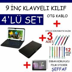 9 in� TABLET PC Klavyeli Deri KILIF Stand SET