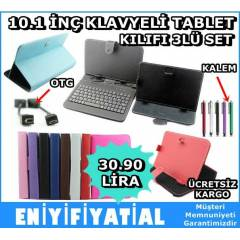 10.1 �N� KLAVYEL� TABLET PC DER� KILIFI 3L� SET