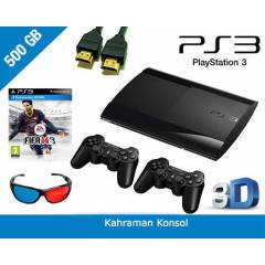SONY PS3 500 GB 3D SUPER SLIM + 2.KOL + FIFA 14