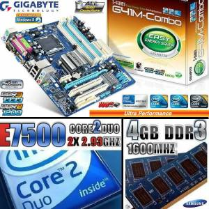 GIGABYTE DDR3 ANAKART==CORE 2 DUO E7500=4GB DDR3