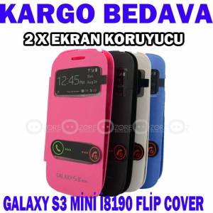 Samsung Galaxy S3 Mini i8190 Flip Cover K�l�f Ka