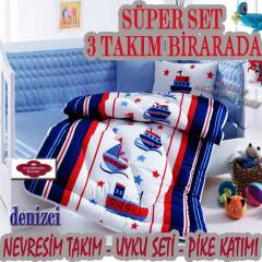 cottonbox bebe denizci 3'l� tak�m set