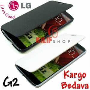 LG G2 Flexi Flip Cover K�l�f +3Film