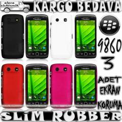 BLACKBERRY 9850 9860 KILIF HARD RUBBER + 3xEKRAN