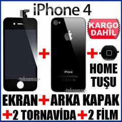iPHONE 4 EKRAN/HomeTu�u/2Film/ArkaKapak FULL SET