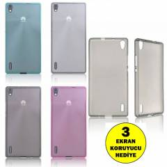 Huawei Ascend P7 K�l�f 0.2 mm Ultra Soft Silikon