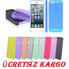iPHONE 5 KILIF 0,2 MM �NCE KAPAK F�LM HED�YE