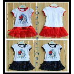 Minnie Mouse Bask�l� Yazl�k K�z Elbise