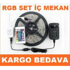 5 METRE SET - RGB �ER�T LED + ADAPT�R + KUMANDA