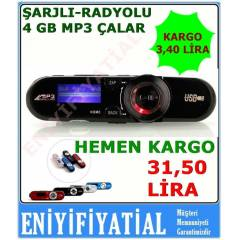 4 GB MP3 �alar Player+Kulakl�k  Radyolu �arjl�
