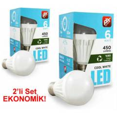 Petrix 6 Watt Led Ampul - 2li SET, Beyaz I��k