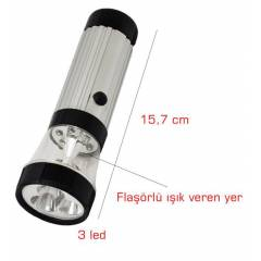 Flashlight 3 LED Fla��rl� El Feneri