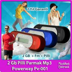 2 Gb Pilli Fm Radyolu Parmak Mp3 Powerway Pv-001
