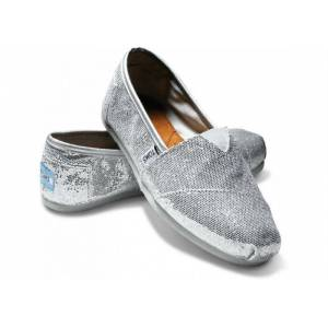 Toms Parlak Ayakab� Silver Women's Glitters