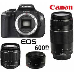 CANON EOS 600D + 18-55 mm + 75-300mm +50mm