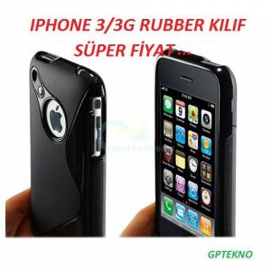 IPHONE 3/3GS RUBBER S�YAH-BEYAZ KILIF (1)