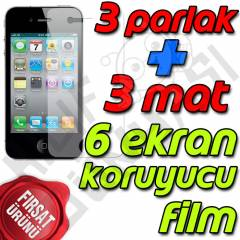 Apple iPhone 4 Ekran Koruyucu Film Tam 6 Adet