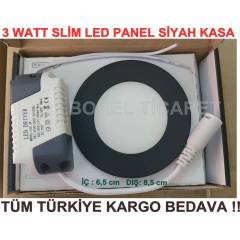 3 WATT LED SPOT - SL�M LED PANEL S�YAH KASA 3W