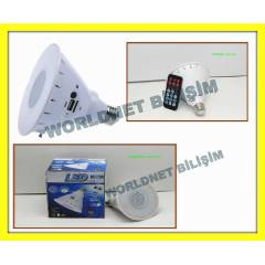 6W LED AMPUL LAMBA E27 MP3 �ALAR USB FM RADYO