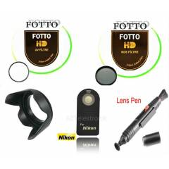 Nikon 18-55mm Uv+ Nd8 Filtre+Parasoley+Ml-l3+Pen