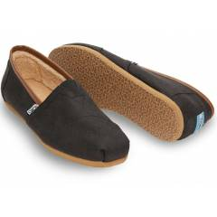 TOMS Erkek Ayakkab�-Black Brown Aviator Twill