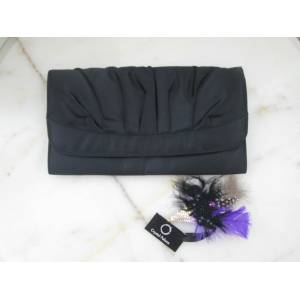 Retro Siyah Saten Bayan Clutch �anta