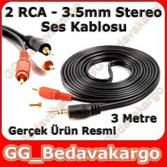 2 RCA - 3,5mm Stereo Ses Kablosu 3 Metre Gold