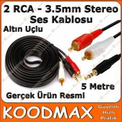 2 RCA - 3,5mm Stereo Ses Kablosu 5 Metre Gold