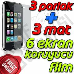 Apple iPhone 3GS Ekran Koruyucu Film Tam 6 Adet