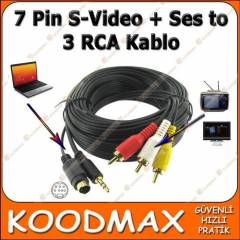 7 Pin S-Video Ses to 3 RCA Kablo Tv Aktar�m Ses