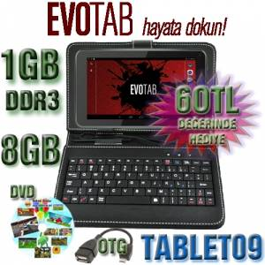 EVOTAB K7 Tablet Pc 1024x600P 1Gb Ram 8G Haf�za