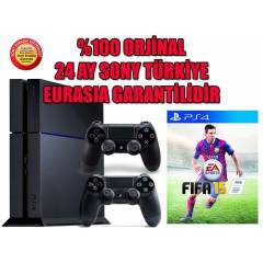 SONY PS4 500 GB + 2. KOL + F�FA 2015 + 24 AY EUR