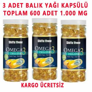 3 ADET OMEGA 3 BALIK HAPI 200 SOFTGEL 1000 MG