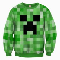 Minecraft Creeper Allover Erkek Sweatshirt