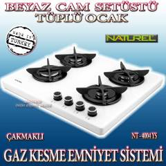 Naturel 4004  LPG �akmakl� set �st� cam ocak