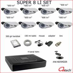 8 L� S�PER KAMERA SET�  DVR C�HAZ 500 GB HDD SET