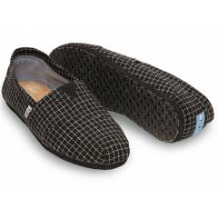 TOMS Erkek Ayakkab�-Black Tailored Checkered