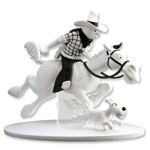 Black And White Cowboy Tintin & Snowy Figure