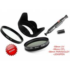 Canon 18-55 i�in UV VE CPL Filtre,Parasoley,PEN