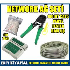 NETWORK A� SET� 100 MT CAT5+PENSE+TESTER+RJ45 U�