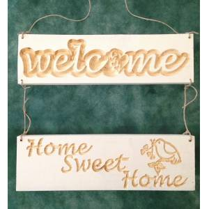 Ah�ap Oyma Welcome Home Sweet Home Kap� S�s�