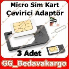 3 ADET Micro Sim Kart Adapt�r� iPhone,Galaxy S3