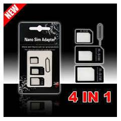 iPhone 5 Nano Sim Kart Adapt�r 4'� 1 Arada