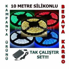 3528 �ER�T LED 10 METRE KOMPLE SET S�L�KONLU